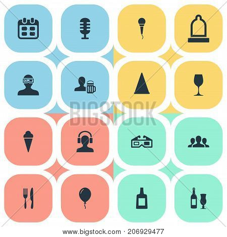 Elements Knife, Microphone, 3D And Other Synonyms Company, Cone And Mike.  Vector Illustration Set Of Simple Banquet Icons.