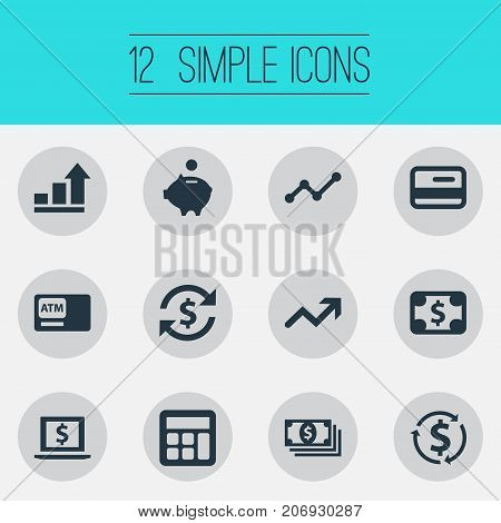 Elements Atm, Moneybox, Accounting And Other Synonyms Bucks, Recycle And Success.  Vector Illustration Set Of Simple Currency Icons.