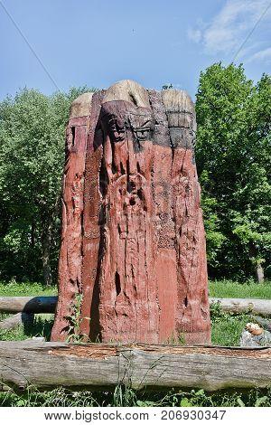 Wooden idol of the Slavic god Perun in Kiev Ukraine