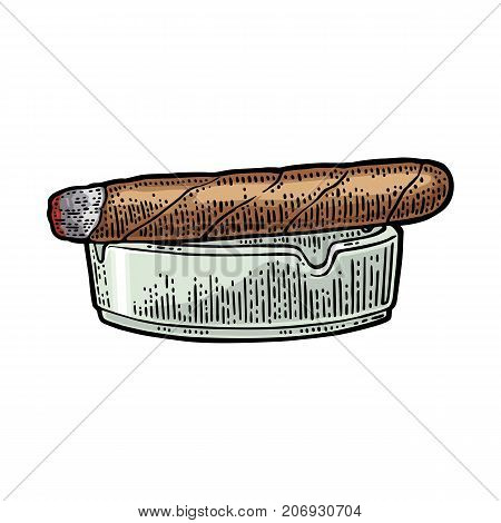 Cigar and ashtray. Vector vintage engraving color illustration isolated on white background.