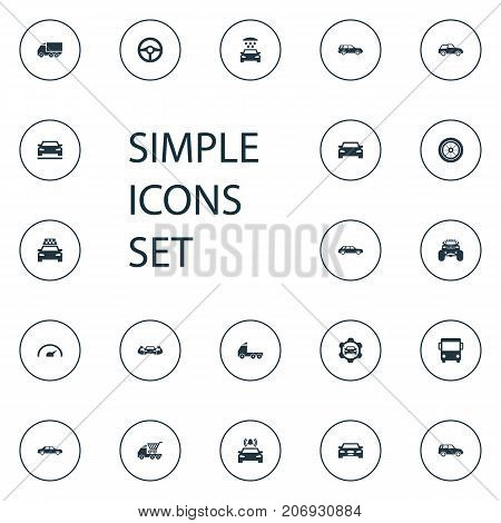 Elements Sedan, Front, Cab And Other Synonyms Side, Bus And Repair.  Vector Illustration Set Of Simple Car Icons.
