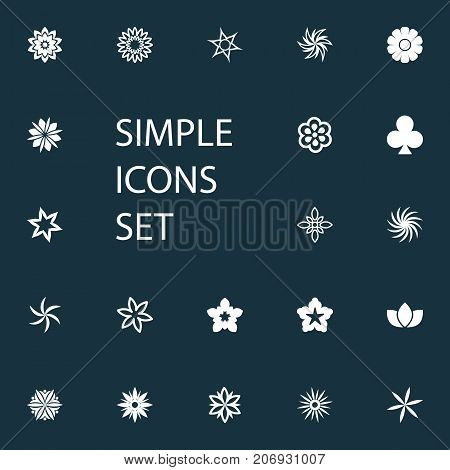 Elements Flower, Helianthus, Lucky Leaf And Other Synonyms Tulip, Flower And Bouquet.  Vector Illustration Set Of Simple  Icons.