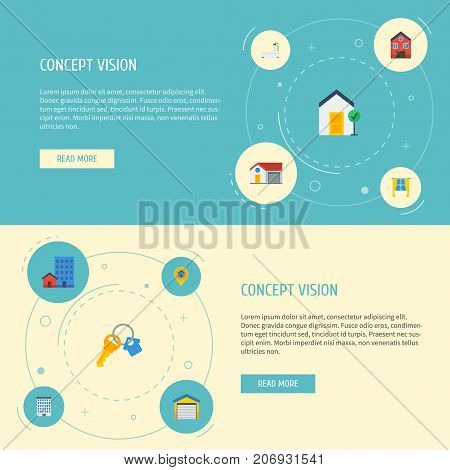 Flat Icons Pin, Depot, Buildings And Other Vector Elements