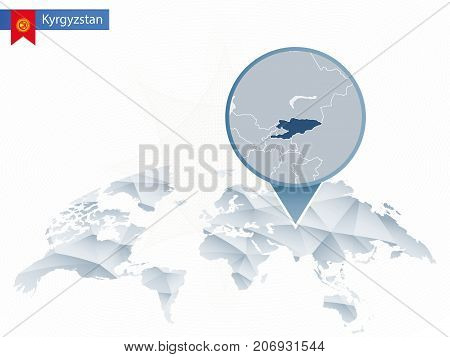 Abstract Rounded World Map With Pinned Detailed Kyrgyzstan Map.