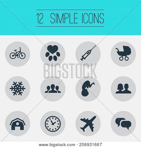 Elements Footprint, Message, Partnership And Other Synonyms Transport, Perambulator And Travel.  Vector Illustration Set Of Simple House Icons.