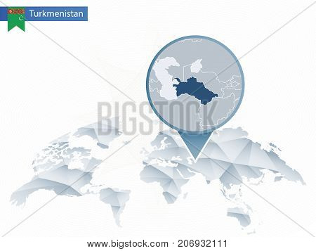 Abstract Rounded World Map With Pinned Detailed Turkmenistan Map.