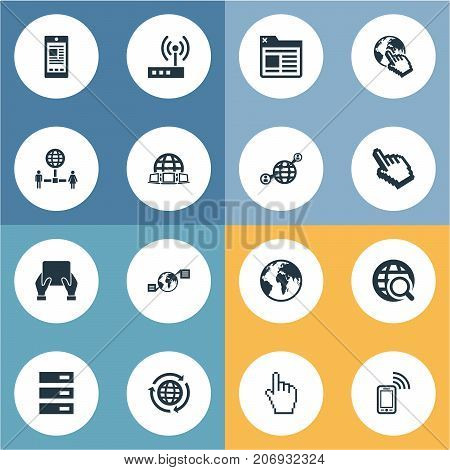 Elements Communication, Networking, Planet And Other Synonyms Storage, Networking And Communication.  Vector Illustration Set Of Simple Network Icons.