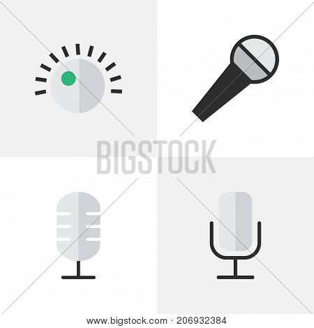 Elements Regulator, Mike, Record And Other Synonyms Mike, Sound And Make.  Vector Illustration Set Of Simple Melody Icons.