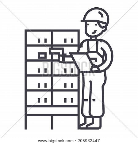 warehouse, delivery man checking barcode on post boxes vector line icon, sign, illustration on white background, editable strokes