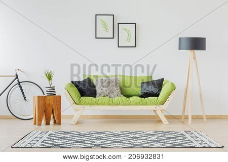 Green Sofa And Black Accent