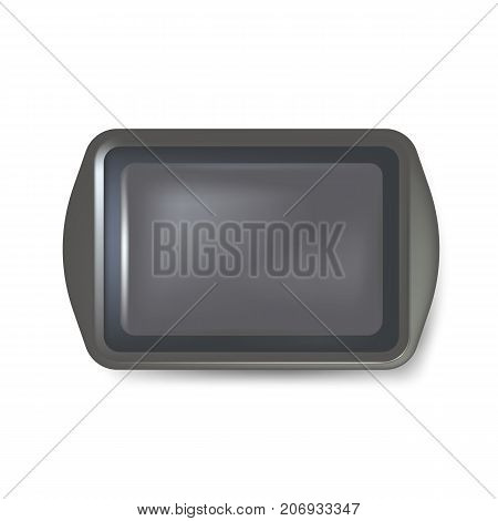 Top view of square black plate. Empty plastic tray. Metal tray salver with Handles. isolated on white background. Vector illustration. Eps 10.