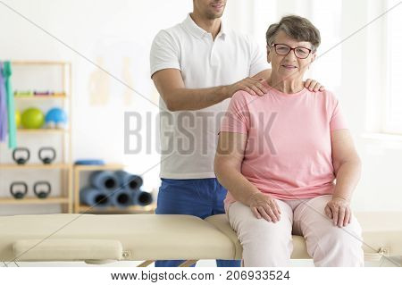 Elderly Lady On Physiotherapy