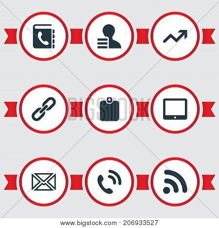 Elements Id Card, Palmtop, Directory And Other Synonyms Increase, Handset And Directory.  Vector Illustration Set Of Simple Communication Icons.