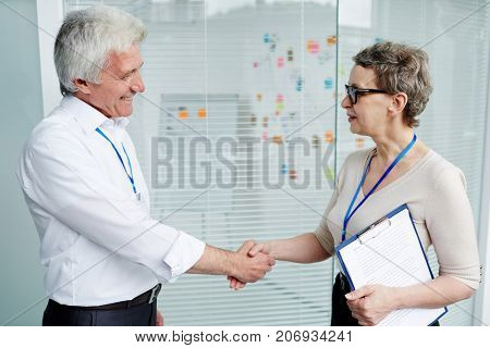 Profile view of cheerful FBI agents greeting each other with handshake before beginning of working meeting, pretty mature woman holding clipboard in hand
