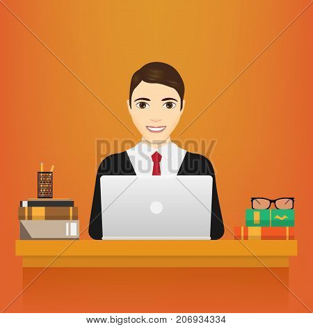Man with laptop. Business man in a suit working on a laptop computer at his office desk. isolated on white background. Vector illustration. Eps 10.