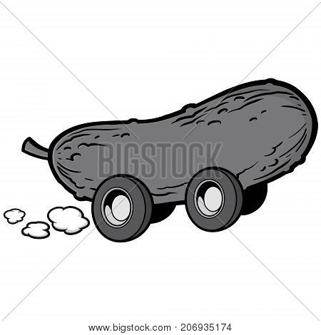 A vector illustration of a cartoon Pickle car.