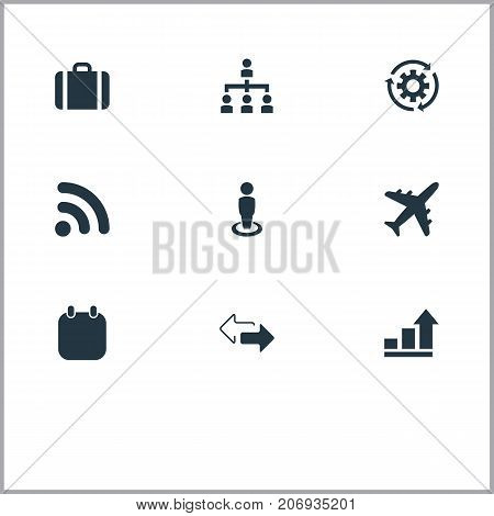 Elements Subordination, Process, Trip And Other Synonyms Chart, Process And Briefcase.  Vector Illustration Set Of Simple Strategy Icons.