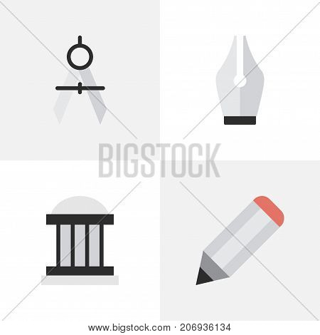 Elements Measurement Dividers, Nib, Pen And Other Synonyms Drawing, Ink And University.  Vector Illustration Set Of Simple Education Icons.