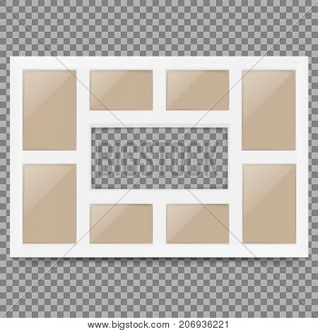 Multi frame set with empty space. Photo frame. Photo frame collage. Multi frame for several photos.isolated on background. Vector illustration. Eps 10.
