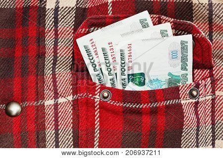 Russian Rubles Notes In Checkered Jacket Pocket