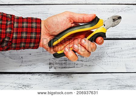 Cutters Or Nippers Holding In Male Hand