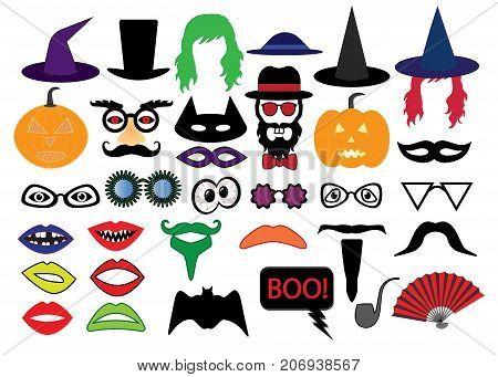 Halloween set photo booth props , vector