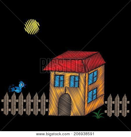 Embroidery stitches imitation house with fence and bird. Vector embroidery isolated house and fence on black background. Embroidery house.