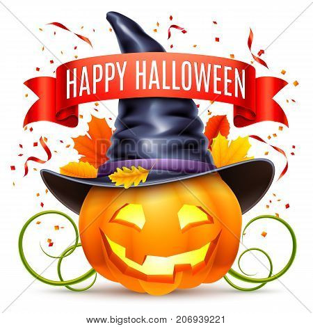 Halloween pumpkin with witch hat and autumn leaves isolated on white background
