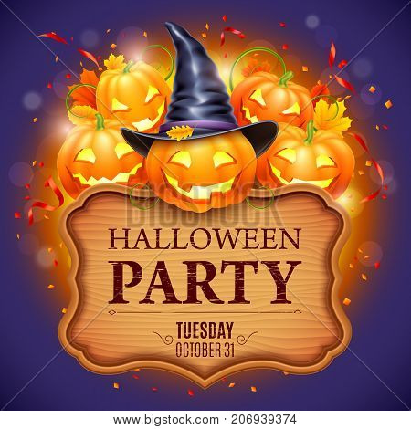 Halloween party poster with smiling pumpkins, witch hat and autumn leaves