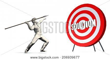 Aiming For Solution with Bullseye Target on White 3D Illustration Render