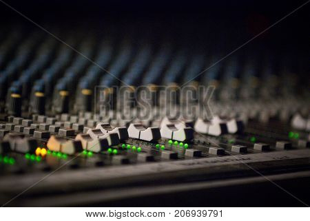 control panel - sound mixer in the nightclub