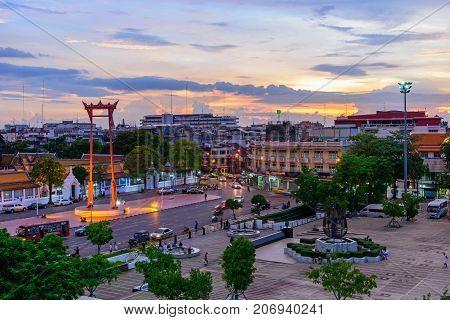 Giant Swing Landmark In Bangkok City In Sunset Time