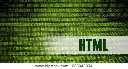 Html Coding Language with Green Binary Background