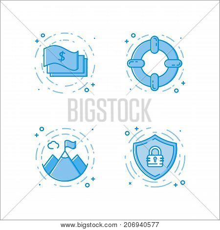 Vector business illustration set of flat bold line icons with cash or money, lifebuoy, mountains, shield and secure lock. Graphic design concept of e-commerce wrb site. Blue outline isolated object.