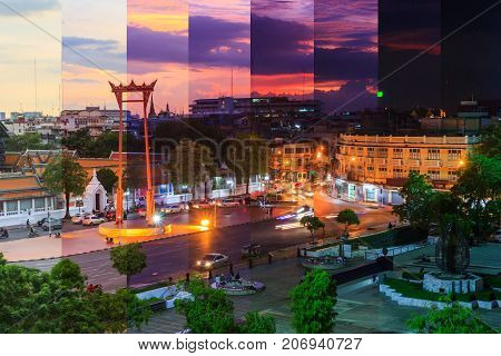 Different shade color of Giant swing landmark in Bangkok city in different time / Sao Ching Cha public landmark in Bangkok