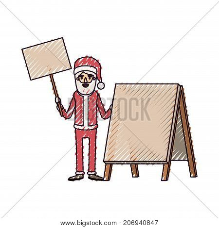santa claus caricature full body holding a wooden poster and empty advertising with hat and costume on color crayon silhouette on white background vector illustration