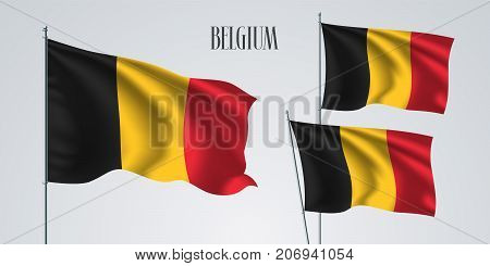 Belgium waving flag set of vector illustration. Red yellow black stripes of Belgian wavy realistic flag as a patriotic symbol