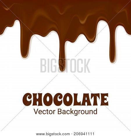 Glossy milk chocolate trickles. Sweet background. Seamless horizontal flyer. Dark chocolate flow down vector illustration.