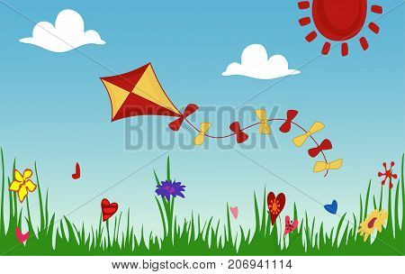 Colored kite flies on background of spring sunny meadow. Green grass with flowers against sky. Concept of freedom, ease of life, joy. Idyllic cartoon picture of warm summer day. Vector, flat style.
