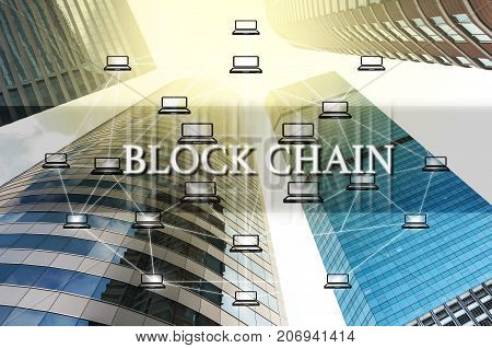 Block chain Text and Distributed computer network over the Modern business building glass of skyscrapers Distributed ledger technology concept Block chain Technology trend concept, 3D illustration