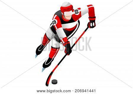 Ice hockey player athlete winter sports man vector 3D isometric icon.