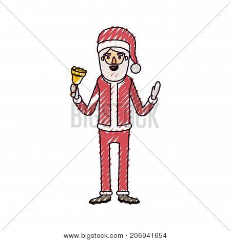 santa claus caricature full body holding a bell with hat and costume on color crayon silhouette on white background vector illustration