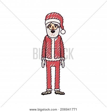 santa claus caricature full body with hat and costume on color crayon silhouette on white background vector illustration