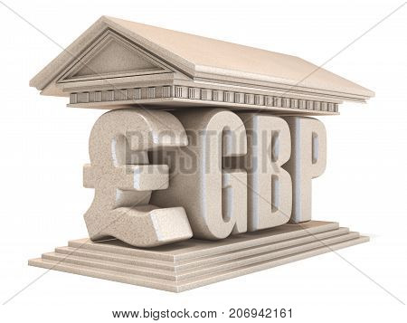 Pound Sterling Gbp Currency Sign Temple 3D