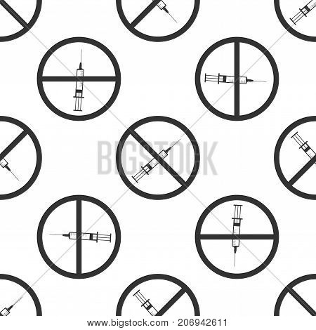 No syringe sign . No vaccine icon seamless pattern on white background. Flat design. Vector Illustration