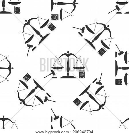 Symbol of law and justice. Concept law. Scales of justice, gavel and book icon seamless pattern on white background. Legal law and auction symbol. Flat design. Vector Illustration