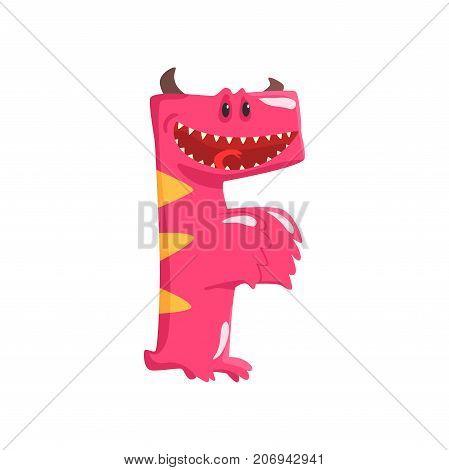 Illustration of character pink smiling monster letter F with horns. Funny education. Strange animal font. Cartoon monster alphabet for kids. Children s print or poster design. Vector isolated on white