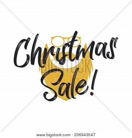 Christmas sale lettering and typography elements with santa charachter. Holiday Online shopping type quote. Stock vector illustration isolated on white background.