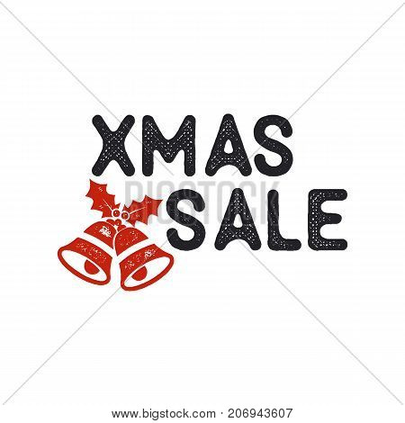 Xmas Christmas sale lettering and typography elements. Holiday Online shopping type quote. Stock vector illustration isolated on white background.