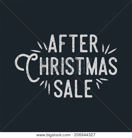 After Christmas sale lettering and typography elements. Holiday Online shopping type quote. Stock vector illustration isolated on white background.